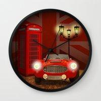 british Wall Clocks featuring British RED by Monika Juengling
