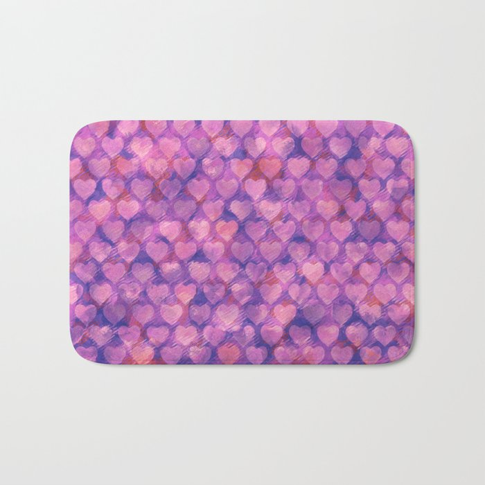Pink hearts pattern Bath Mat