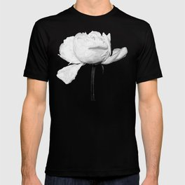 White Peony Black Background T-shirt