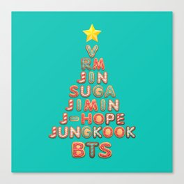 BTS Members X-mas Tree: Happy Christmas!! Canvas Print