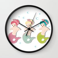 mermaids Wall Clocks featuring Mermaids by Judy Oliva