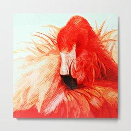 Abstract Flamingo Metal Print
