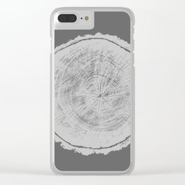 Realistic monotone photo of detailed cut tree slice with rings and organic texture Clear iPhone Case
