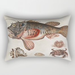 Vintage Fish and Crab Illustration by Maria Sibylla Merian, 1717 Rectangular Pillow