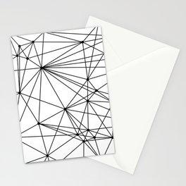 White & Black geometric web Stationery Cards