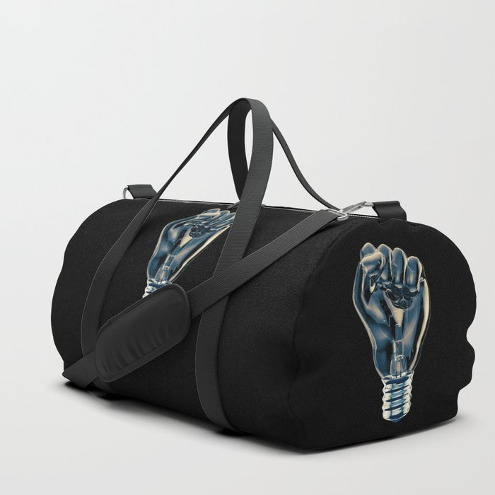 Protest fist light bulb / 3D render of glass light bulb in the form of clenched fist Duffle Bag