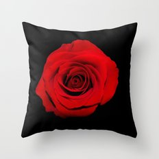 Think Flowers - Red Rose Throw Pillow