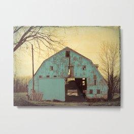 Rustic Teal Barn A454 Metal Print