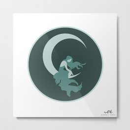 Lady on the Moon  Metal Print