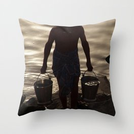 Collecting Water from the Ganges Throw Pillow