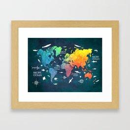 Ocean World Map color #map #worldmap Framed Art Print