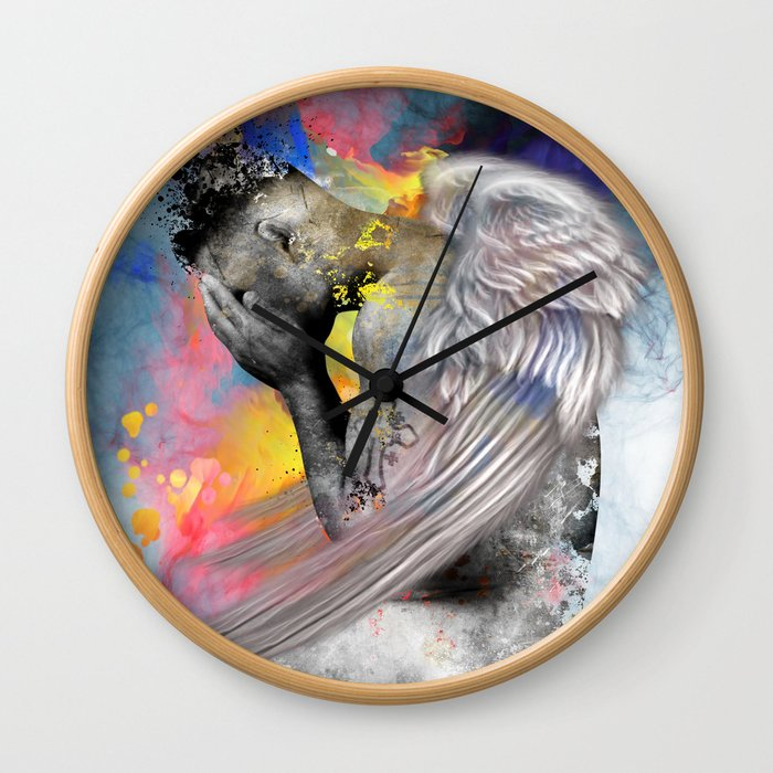 angel male nude Wall Clock