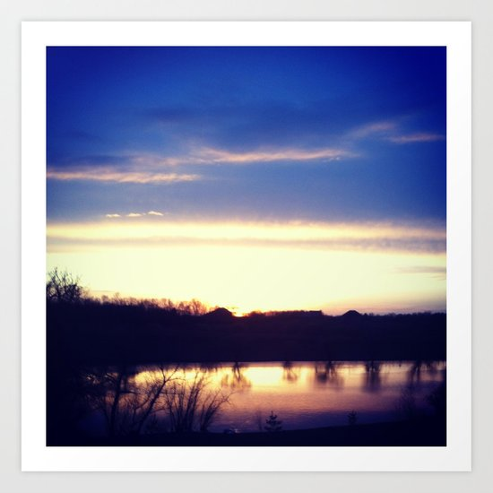 Sunset over Pond Art Print