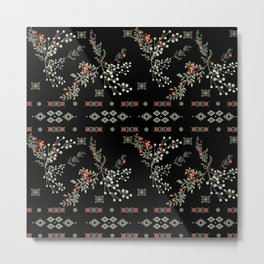 Seamless abstract floral pattern on black background Metal Print
