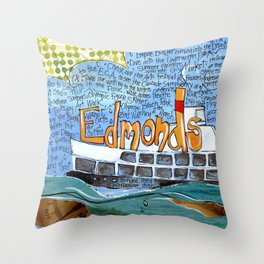 EDMONDS, WASHINGTON the town and the adventures by Seattle Artist Mary Klump Throw Pillow