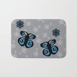 Swirly Butterfly and Flower Design Black, Grey, Blue Color Splash Bath Mat