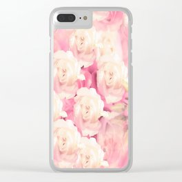 White and pink flowers in summer romance - vintage style Clear iPhone Case