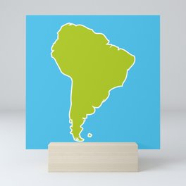 South America map blue ocean and green continent. Vector illustration Mini Art Print