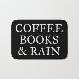 Coffee Books & Rain - Black Bath Mat
