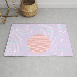 Memphis Summer Lavender Waves Rug