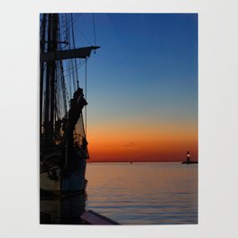 Blue hour in the harbor Poster