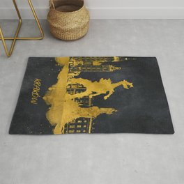 Krakow skyline gold black #cracow Rug
