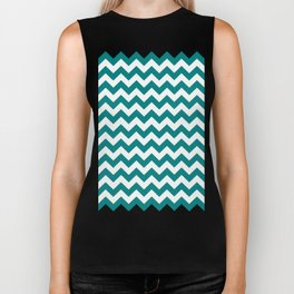 Chevron (Teal/White) Biker Tank