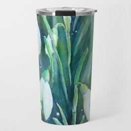 Watercolor snowdrop illustration Travel Mug