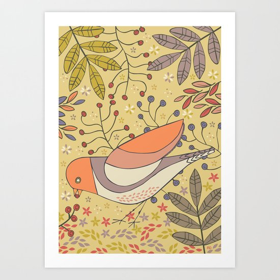 Wild Berry Garden Bird Art Print