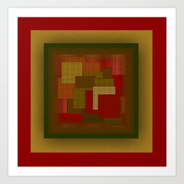 Red Color Geometry Art Print