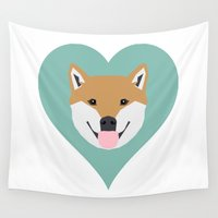 meme Wall Tapestries featuring Shiba Love - Heart shiba inu funny dog for dog lovers pet gifts customizable dog meme dog person by PetFriendly