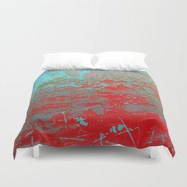 texture - aqua and red paint Duvet Cover