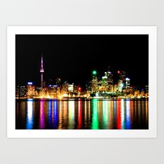 Toronto Skyline At Night From Polson St No 1 Art Print