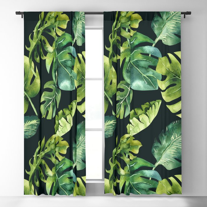Watercolor Botanical Tropical Palm Leaves on Solid Black Background Blackout Curtain