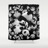pandas Shower Curtains featuring Pandas by suvawear