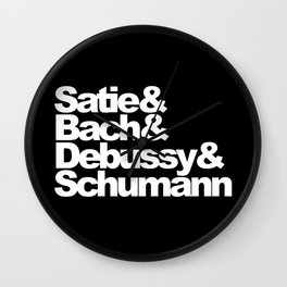 Satie and Bach and Debussy and Schumann, circle, black Wall Clock