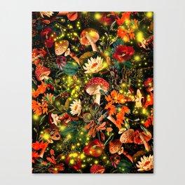 Night Garden and Fireflies Canvas Print