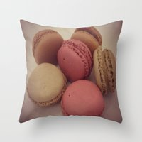 macaroon Throw Pillows featuring macaroon by  Alexia Miles photography