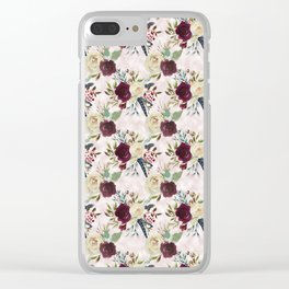 Boho Watercolour Roses Burgundy, Peach and Life Quote Clear iPhone Case