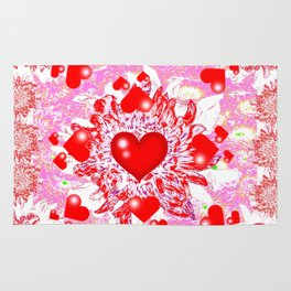 Red Hearts Valentines & Pink Art Patterns Rug