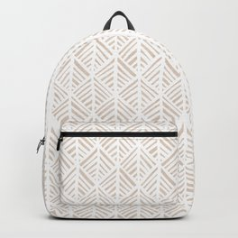 Abstract Leaf Pattern in Tan Backpack
