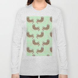 Otter Green Pattern Long Sleeve T-shirt