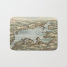 Vintage Pictorial Map of Lake Sunapee (1905) Bath Mat