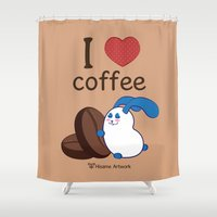 coffe Shower Curtains featuring Ernest | Love coffe by Hisame Artwork