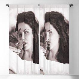 lana delrey with Cat, Stylish print Blackout Curtain