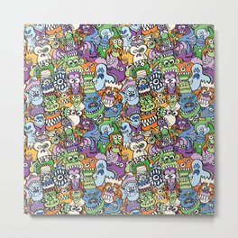 Halloween stars get crazy and hungry in a spooky pattern design Metal Print