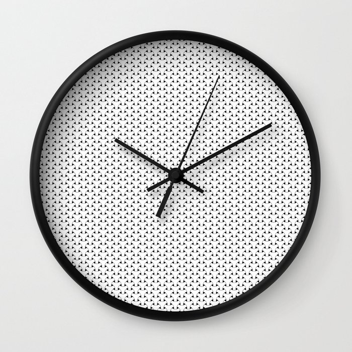 Black and White Basket Weave Shape Pattern - Graphic Design Wall Clock
