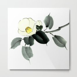 White camellia sumi ink and japanese watercolor painting Metal Print