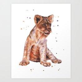 LION cub painting, lions, safari animals, wildlife art, watercolor lion, lion painting Art Print