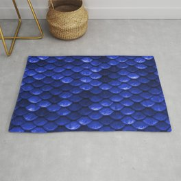 Cobalt Blue Mermaid Tail Scales Rug